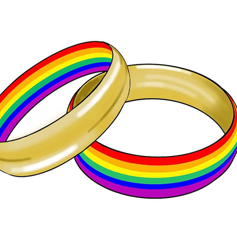 rings depicting marriage equality